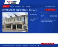 Bild Webseite ANNESER INTERSPORT Aichach