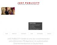 Bild Webseite JUST PUBLICITY Agentur für Presse- u. Öffentlichkeit. München