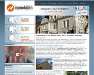 Bild Webseite JK Immobilien Köln