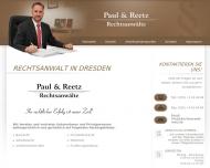 Bild Webseite Paul & Reetz Rechtsanwälte Dresden