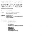 Bild Webseite Beckmann M. , Koch G. Rechtsanwältinnen Hamburg