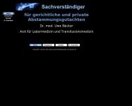 Bild Webseite Bäcker Uwe Dr. med. Sachverst. f. Abstammungsgutachten,Labor f.Genetik Laborarzt München