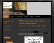 Bild Webseite Just Sports Duisburg