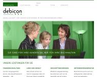 Bild Webseite debicon Gesellschaft für Dienstleistungen im Rechnungswesen Hamburg