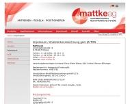 Website Mattke Aktiengesellschaft