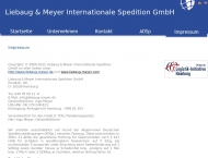 Bild Webseite Liebaug & Meyer Internationale Spedition Hamburg