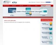 Bild Webseite ETU Software Köln