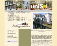 Website uniSol Glas- und Profilbau