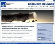 Bild Webseite Gebr. Klünder Schaumstoffwerk Gesellschaft Hamburg