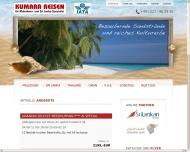 Bild Webseite Kumara Reisen Köln