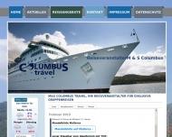 Bild Webseite M & S COLUMBUS travel Köln