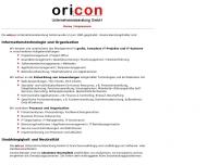 Bild Webseite oricon Unternehmensberatung Stuttgart